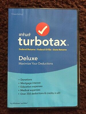 Intuit TurboTax 2018 Deluxe Federal E-File/State CD win/mac Brand New sealed