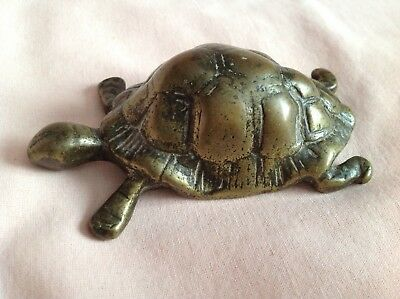 VINTAGE ART DECO  RARE  SMALL BRASS TORTOISE ITS 110mm LONG IN WELL USED COND.