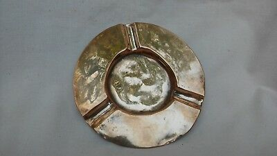 Vintage Rare Art Deco Small Copper Ash Tray Made By Js&S.b In Well Used Cond.
