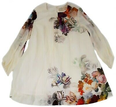 New Zara Girls Kids Size 4-5 Ecru Floral Print Long Sleeves Dress with Tags NWT