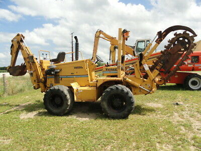 2005 Vermeer V8550A Trencher backhoe cummins diesel 4405 hrs carbide tooth chain