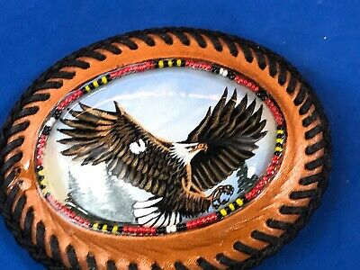 Large belt buckle Stitched Artisan?Leather belt buckle - Eagle picture and beads