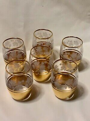 Vintage Gilt Retro Glasses Set of 6