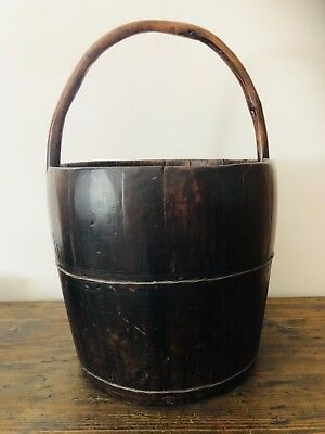 Stunning antique late 1800's wooden bucket with wooden handle