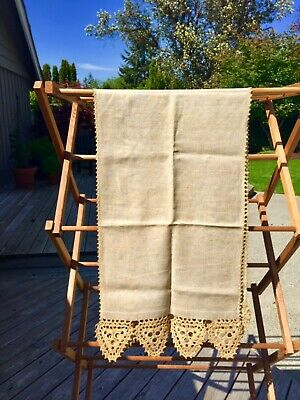 VINTAGE ANTIQUE LONG HANDMADE 100% LINEN FLAX CLOTH TABLE RUNNER Crochet Lace EC