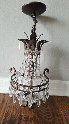Antique Vintage Brass Crystal Mini Chandelier