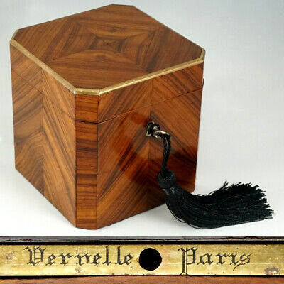 Antique French Tea Caddy Box Signed Vervelle Paris Napoleon III Kingwood Inlay