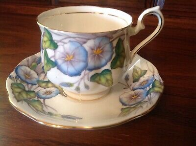 VINTAGE ROYAL ALBERT c.1945 TEACUP & SAUCER FLOWER OF THE MONTH #9 MORNING GLORY