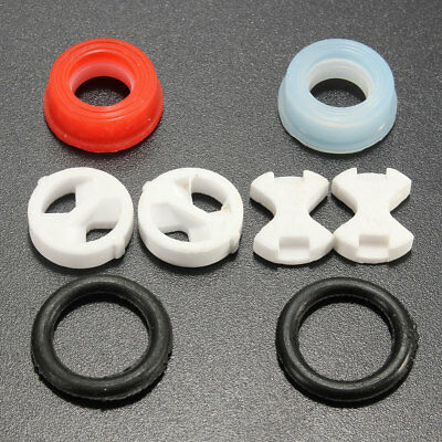 10x 1/2'' Ceramic Washer Insert Disc &Silicon Turn Replacement Set for Valve Tap