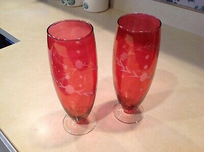 """Vintage Pair Of Cranberry Glass Crystal Glass Footed Flower Vase Vases 10 1/2"""" T"""