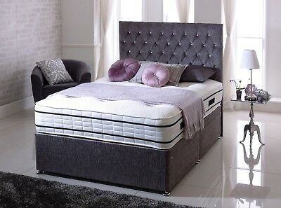 """NEW 5ft King-size Chenille Fabric DIVAN BED with 24"""" Chesterfield Headboard- UK"""