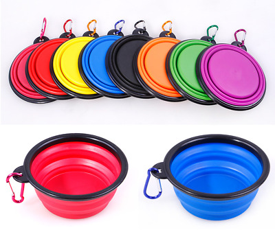Folding Pet Dog Silicone Travel Feeding Bowl Collapsible Food Water Feeder AT