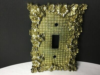 Vintage Brass Switch Plate Cover Ornate Floral Charm n Style