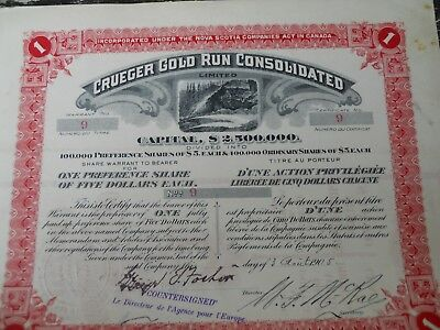 Action titre 1905 Nova Scotia, Canada: Crueger Gold Run Consolidated n° 9 et 10