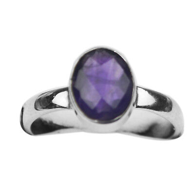 925 Sterling Silver natural amethyst gemstone Ring size 7 US 2.33 g