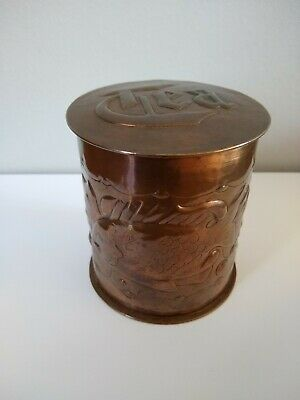 Absolutely Stunning Newlyn Arts & Crafts Copper Tea Caddy. Fish Motifs.rare