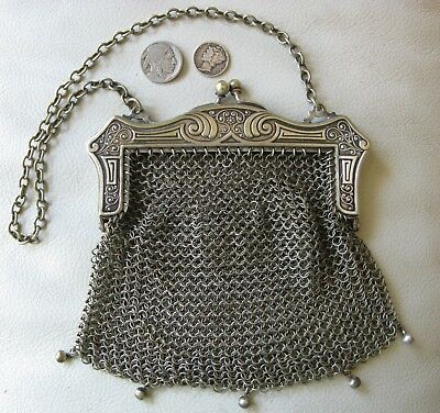 Antique Art Nouveau Deco German Silver Arts & Crafts Frame 5 Tassel Mesh Purse