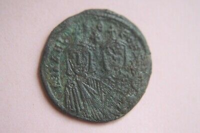 ANCIENT BYZANTINE MICHAEL II BRONZE FOLLIS COIN 9th CENTURY AD