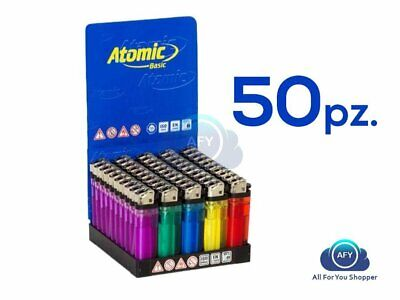 50 Accendini Atomic Colorati Pietrina Box Scatolo Intero!!!