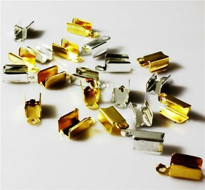 500 / 200 Cord End Crimp Caps Bail Tips 9mm x 3.5mm x 4mm Silver OR Gold ( AM17