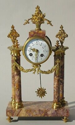 Antique French Marble and Gilt Bronze Mantel Clock