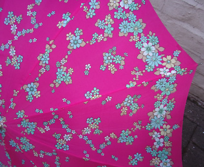 Vintage Ladies Umbrella ~1960s/70s Retro Flower Power Women's Brolly with Holder