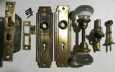 Vintage Round Glass Door Knob Set Brass Mortise & Thumb Lock Plates Door Stop