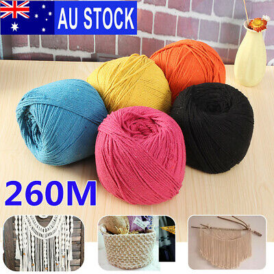 260M 3mm Macrame Rope Natural beige Cotton Twisted Cord Artisans Hand Craft AU