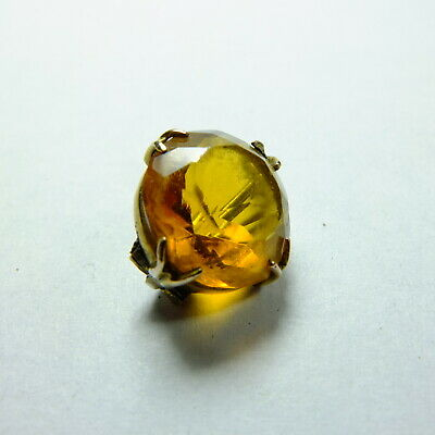 Gorgeous rare Antique Victorian Tiny 9ct Gold Open Back Citrine Paste Brooch