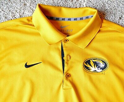 a9a9038bc NIKE Missouri Tigers Polo Shirt Adult Large Gold Black Mizzou Football Dri  Fit