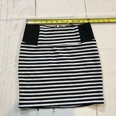 526543443 Charlotte Russe Women Straight Pencil Skirt Size XS Blue White Stripes - E20