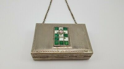 Art Deco Silver Tone and Guilloche Antique Makeup Compact / Purse