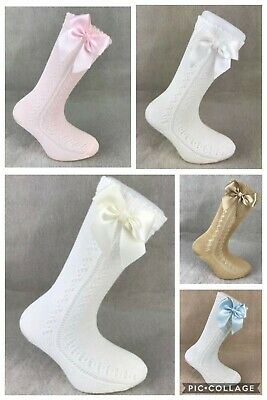 Girls Genuine Spanish Socks Carlomagno Knee High Open Weave Bow Sock Romany Sock