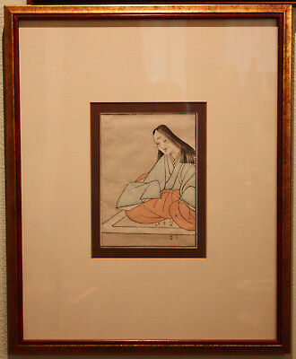 Antique Japanese Woodblock Print - Signed, Framed