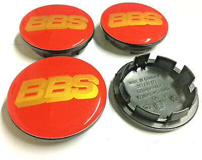 4 x BBS RED / GOLD SPORT 65mm / 56mm WHEEL CENTRE CAPS EMBLEMS 3B7601171 XRW