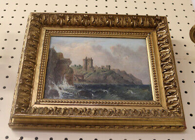 Pair Diminutive 19th Century English Oil Paintings on Wood Gilded Frames