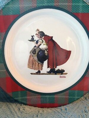 """Nos Norman Rockwell Saturday Evening Post Collection """"Mistletoe"""" 12/19/36 Plate"""