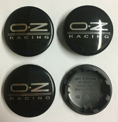 4 x OZ RACING SPORT 65mm / 55mm WHEEL CENTRE CAPS NEW STYLE Black / Silver