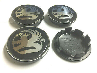 4 x VAUXHALL BLACK 65mm / 55mm WHEEL CENTRE CAPS NEW STYLE EMBLEMS TOP UK