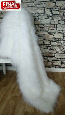 Luxury Faux Fur Throw Blanket Gift New White Long Pile RRP £150 CLEARANCE