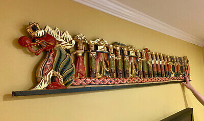 Balinese Procession architectural Panel carved wood Bali wall Art architectural