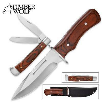 Timber Wolf Cinder & Smoke Duo 2 Knives Bowie Trapper Pocket Knife Set Full Tang