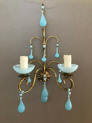 Italian Antique Gilded sconce w Blue French Opaline blown drops & macaroni beads