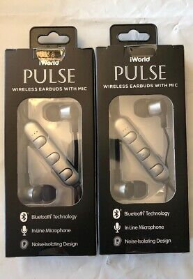 6d064bf4544 2- iWorld Pulse Wireless Bluetooth Earbuds with In-line Microphone Black New