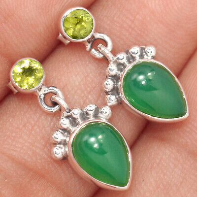 Gemstone Jewelry & Watches Crescent Moon Green Onyx 925 Sterling Silver Earrings Jewelry Ae42097 87m