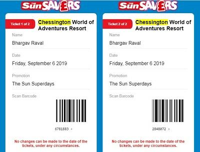 12 X CHESSINGTON WORLD OF ADVENTURES tickets 06th sep 2018 Friday