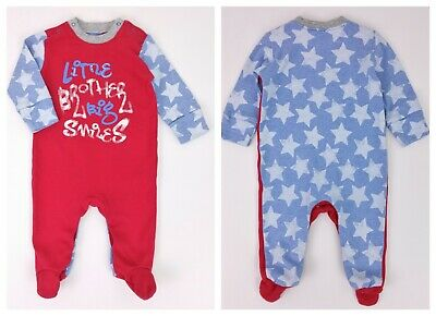 Baby Boys Clothes NEXT LITTLE BROTHER Babygrow/Sleepsuit Set 0-3 Months VGC