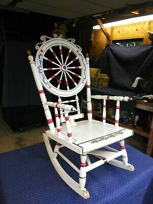 Antique Custom Made Wool Loom Wooden Rocking Chair