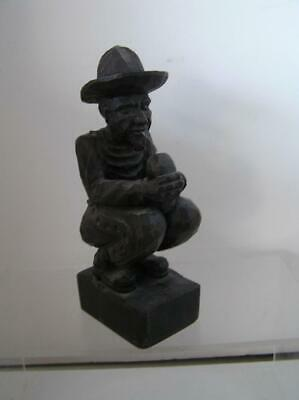 """Primitive Handmade Wood Carving of Man Kneeling drinking from SPAIN 9"""" tall"""