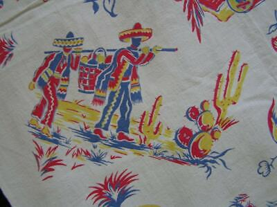 Vintage 1940's Mexican Theme Motiff Cotton Tablecloth 47x43 Square